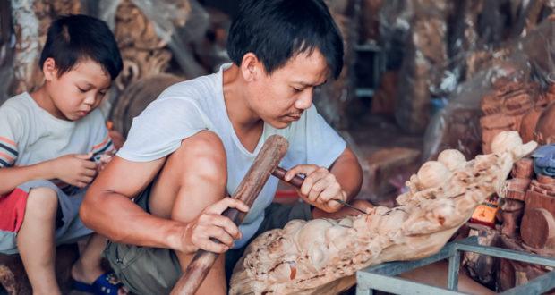 Du Du Wooden Sculpture Village in Hanoi Vietnam