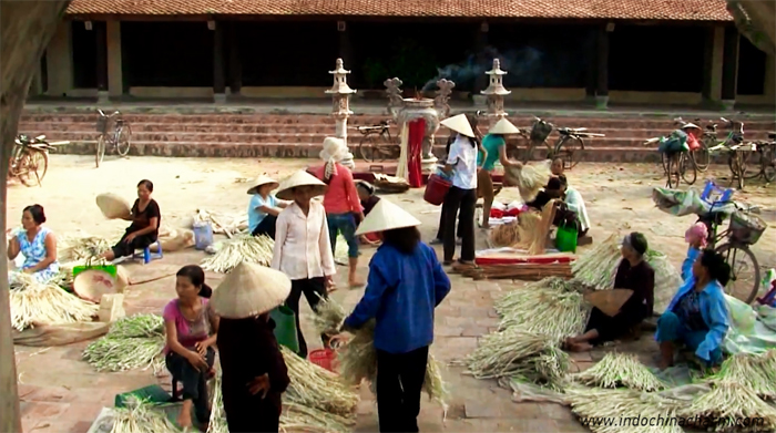 You can find conical hats and the materials to make the hats. at Chuong market