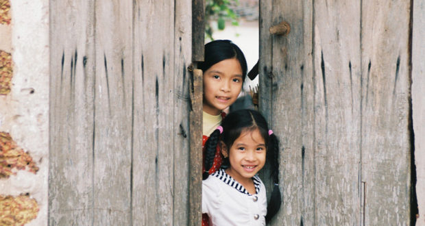 Children at the Ancient Village Duong Lam in Red River Delta Vietnam