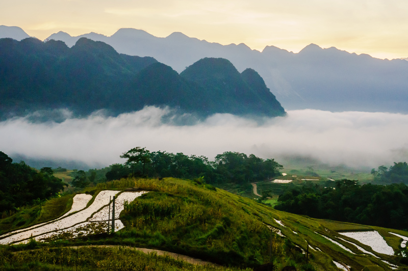Sunrise at Pu Luong Nature Reserve in Thanh Hoa Vietnam