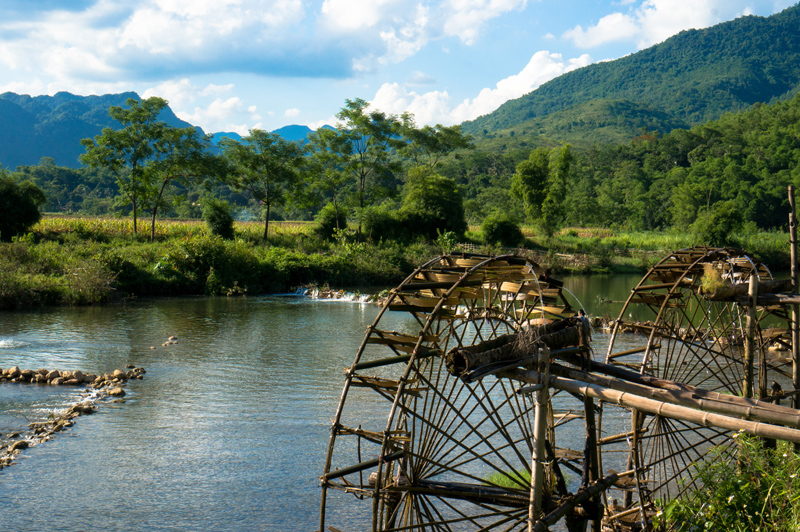 Water Wheels along the river in Pu Luong Nature Reserve in Thanh Hoa Vietnam