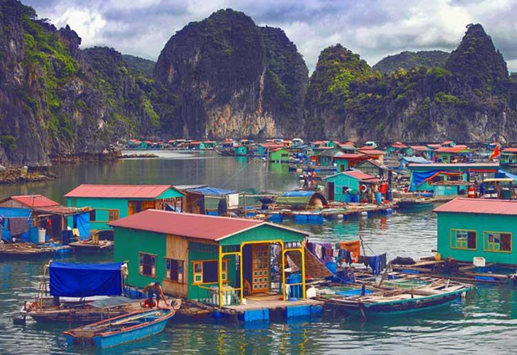 Cap La Floating Fishing Village in Bai Tu Long Bay