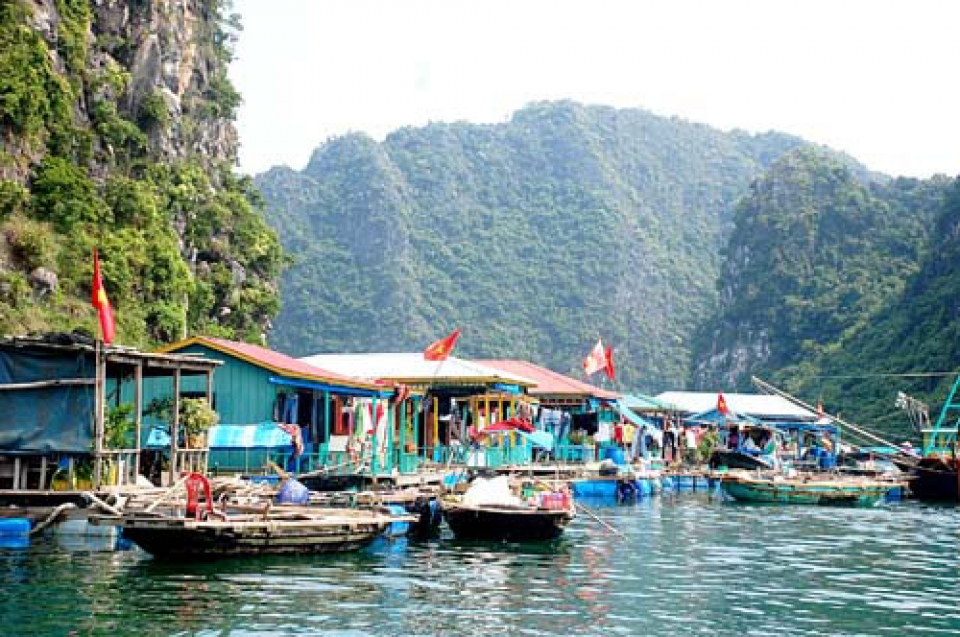 Cua Van Floating Fishing Village in Halong Bay